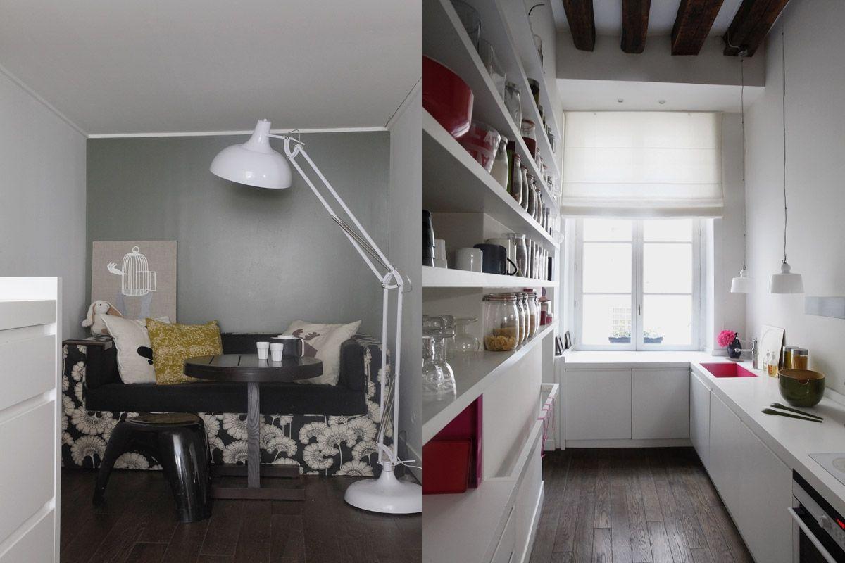 una cocina en blanco y rosa con mucha luz
